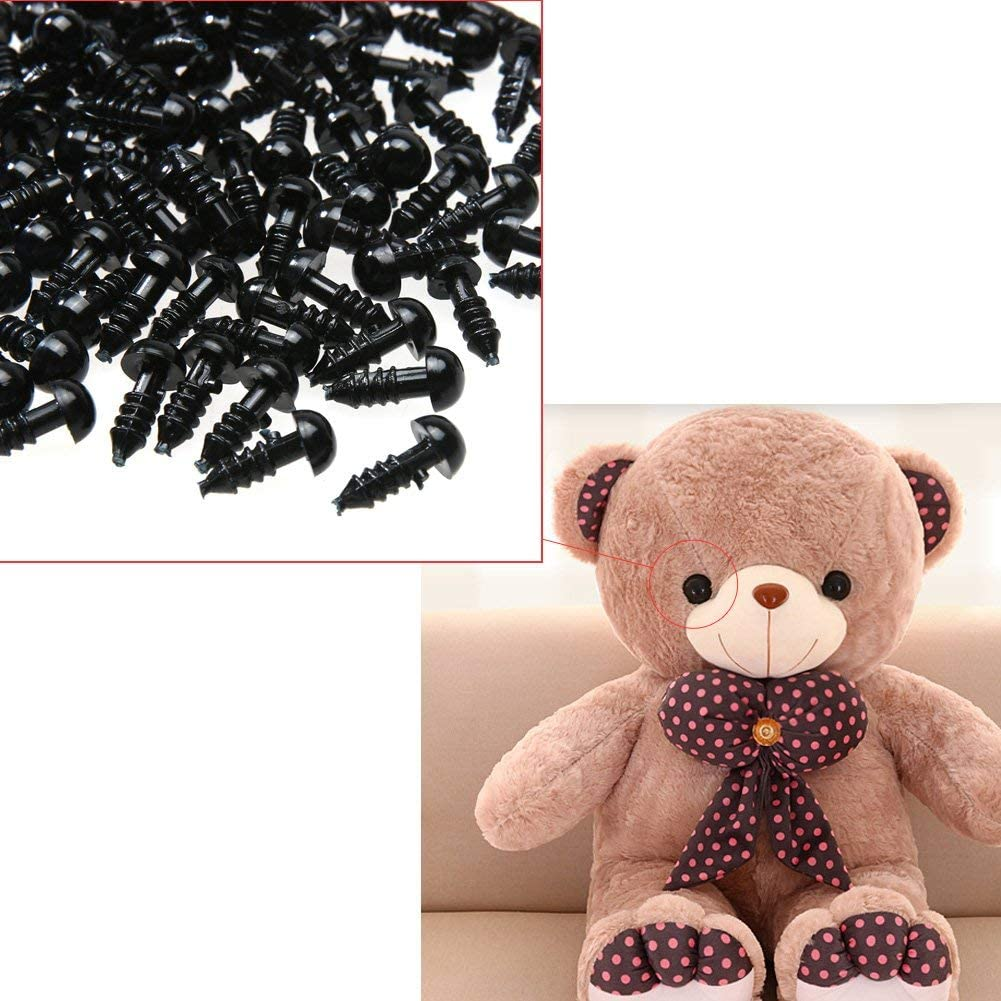 Doll Puppet Plush Animal and DIY Craft BESTCYC 100Pcs 8mm Spiral Solid Black Plastic Eyes for Bear