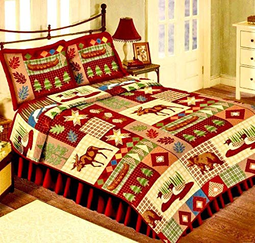 (Timber Lodge 3pc's Rustic Northern Cabin Moose Duck Bear Canoe Patchwork Full/Queen Size (86