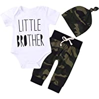 MEKILYN 3Pcs Baby Boys Little Brother Camouflage Romper Tops+Pants Leggings+ Hat Outfits Set