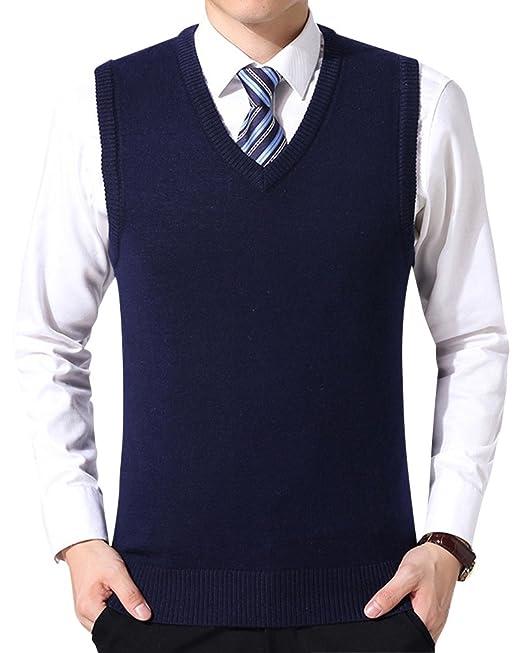 Chaleco de Suéter Hombre Sin Mangas Cuello en V Color Sólido Negocio Punto Chalecos: Amazon.es: Ropa y accesorios