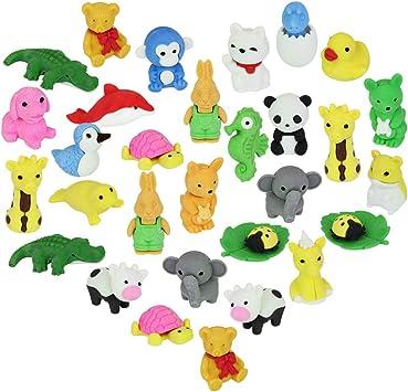 CODIRATO 30 PCS Gomas de Borrar para Animales, Animals Borradores con Caja de Regalo Borradores de Animales para Cumpleaños, Día del niño o Regalos de Navidad: Amazon.es: Juguetes y juegos