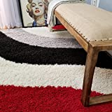 Maxy Home Bella Striped Multicolor 5 ft. x 7 ft. Shag Area Rug