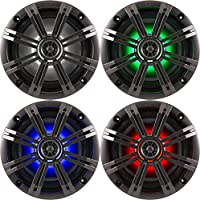1- Pair (2-Speakers) Kicker 6.5 195W LED Marine Audio Coaxial Stereo Multi Color LED Lights, Charcoal Grills