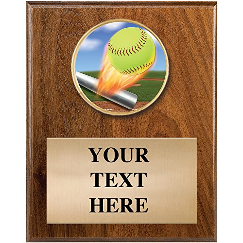 Softball Awards - 4 x 6 Softball Plaque Trophy Award with Personalized Text