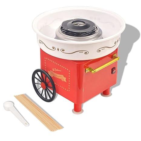 vidaXL Máquina de Algodón de Azúcar Modelo con Ruedas Potencia 480W Color Roja