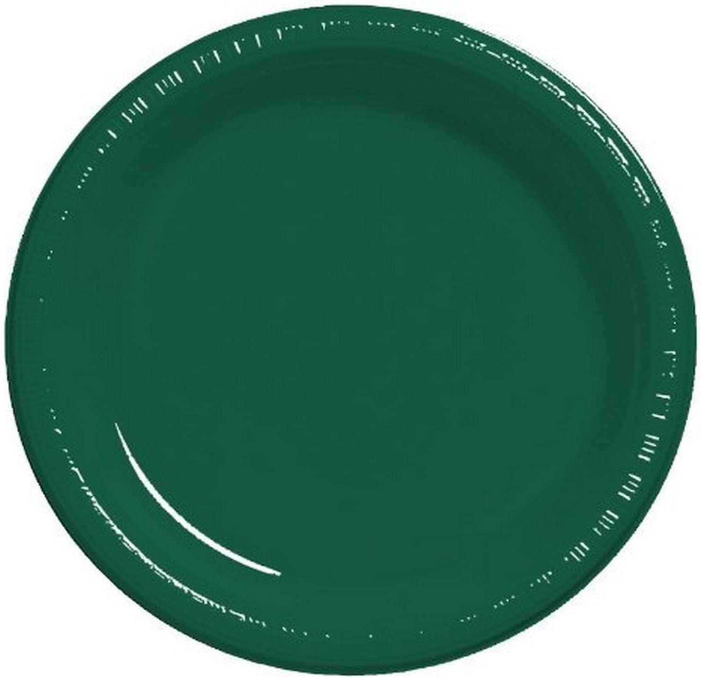 Creative Converting Touch of Color 20 Count Plastic Banquet Plates, Hunter Green