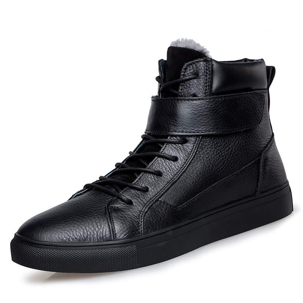 lo último YAN Botas De De De Cuero De Los Hombres Otoño  Invierno Moda Alta Cubierta Zapatos Casuales De Algodón Deportes Zapatos Senderismo Zapatos Casuales Fiesta Y Noche,A,48  gran descuento