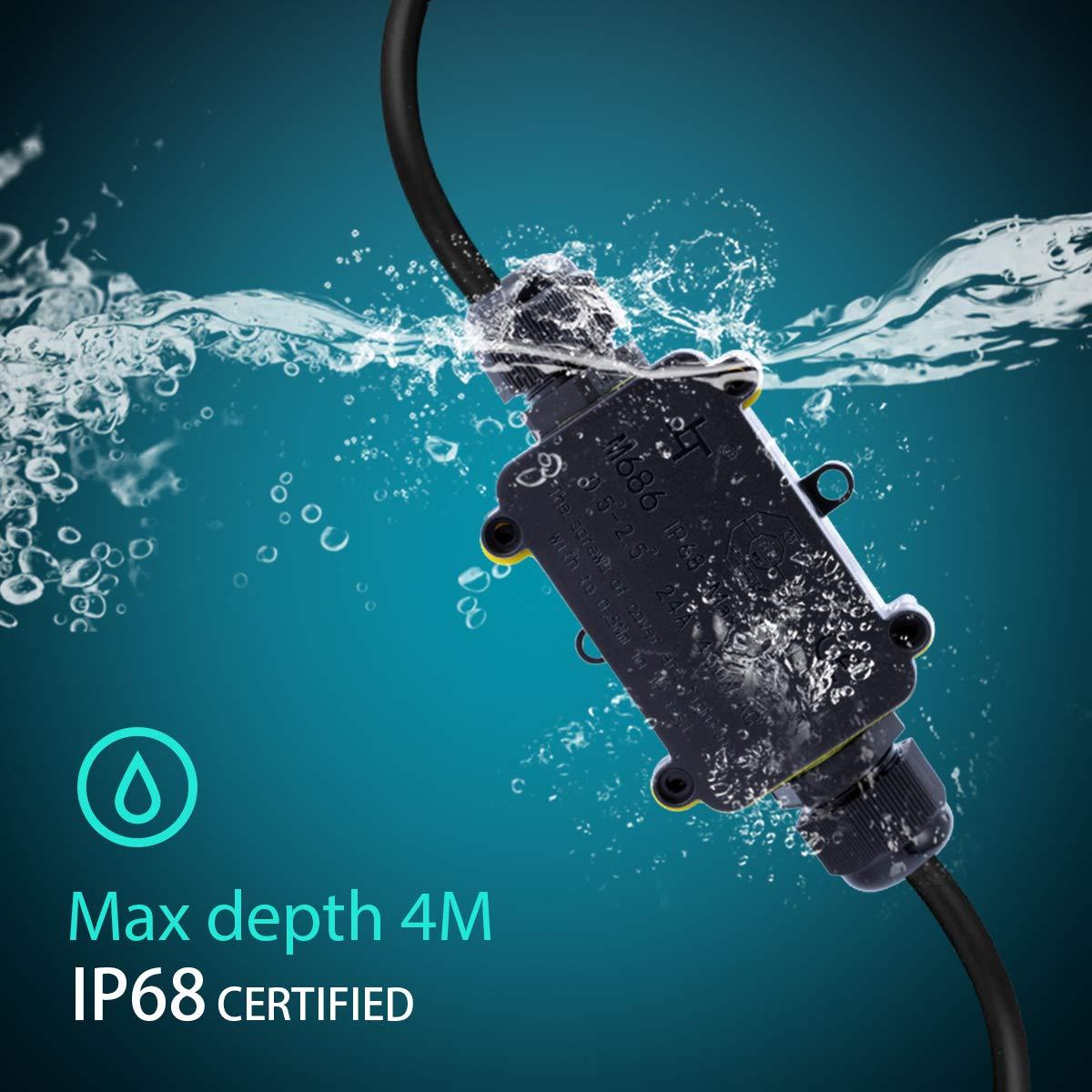 noir Prise de d/érivation certifi/ée T/ÜV IP68 /étanche connecteur de c/âbles prise de raccordement c/âble c/âble de terre Noir Prise de distribution /électrique pour c/âble /Ø 4 mm /à 14 mm