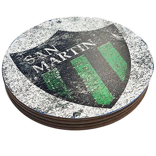 Four Round Coasters Glossy Custom Paint Effect Argentina Futbol Soccer San Martin San Juan
