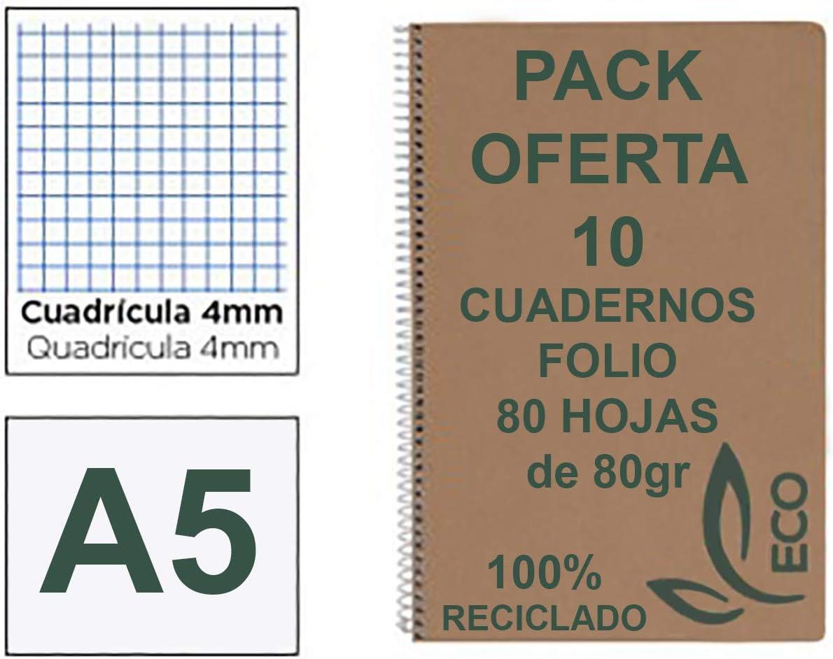 Cuadernos Reciclados Din A5 con Espiral Metálica Pack 10 Cuadernos de Papel Reciclado y 80 Hojas Cuadrícula 4mm Cuadernos Ecológicos de Hojas Recicladas Cuadernos A5 Cuarto Eco: Amazon.es: Oficina y papelería