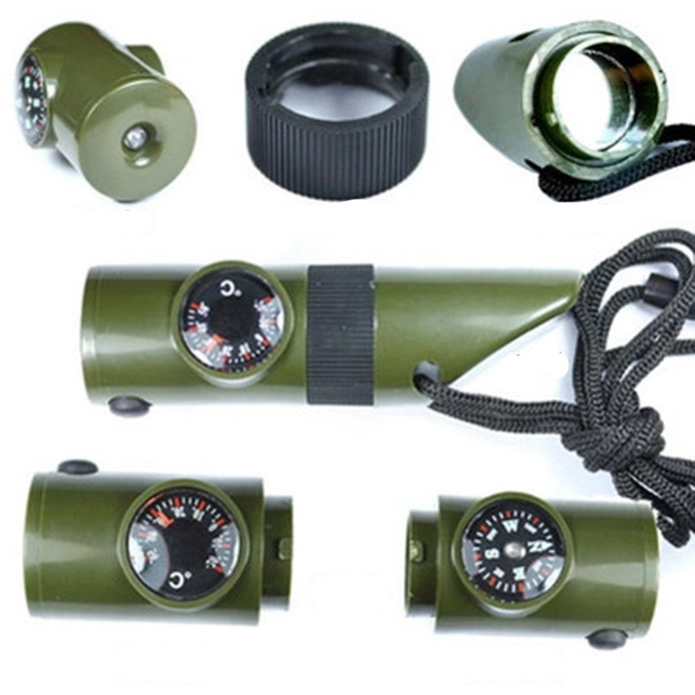 Flurries New 7 in 1 Field Survival Whistle Compass Thermometer Flashlight Magnifier (Army,Green)