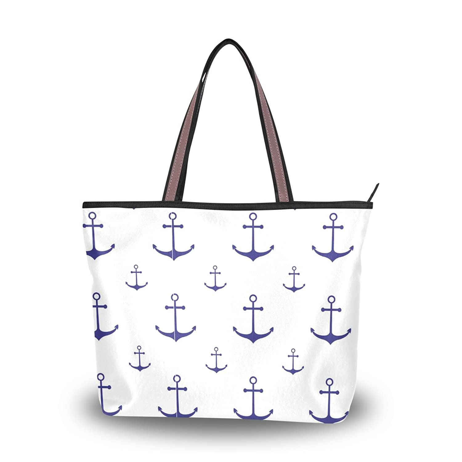 Senya Women's Handbag Microfiber Large Tote Shoulder Bag, Sea Symbols