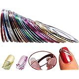 Hosaire 30pcs 30 Mixed Colors Rollos Striping Línea de Cinta Nail Art Decoración Sticker DIY uñas Color Aleatorio