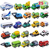 JOYIN 25 Piece Pull Back Cars and Trucks Toy Vehicles Set for Toddlers, Girls and Boys Kids Play Set, Die-Cast Car Set