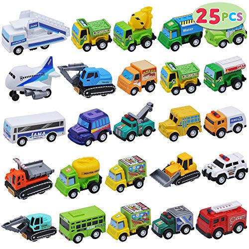 25 Piece Pull Back City Cars and Trucks Toy Vehicles Set for Toddlers, Girls and Boys Kids Play Set, Die-Cast Car Set