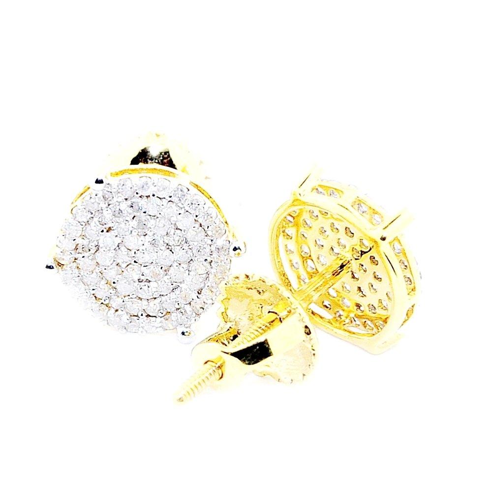 10K Gold 0.35ctw Diamond Stud Earrings 8mm Wide Screw Back Large Cluster (i2/i3, j/k)