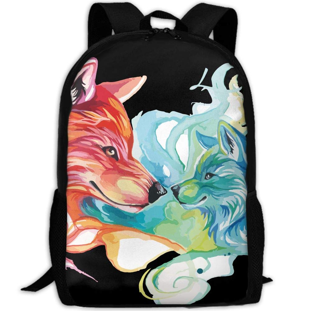 OIlXKV Fire And Water Dog Print Custom Casual School Bag Backpack Multipurpose Travel Daypack For Adult