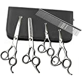 Dog Grooming Scissors Set, 5PCS Safety Round Tip Straight Curved Thinning Shears Comb Kit Set, Stainless Steel Sharp Blades Home DIY Professional Cat Pet Clippers Tools for Small&Medium&Large