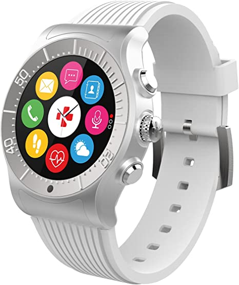 MyKronoz ZeSport - Multisport GPS, Heart Monitoring, Color Screen Smartwatch with sleek design (Silver/White)