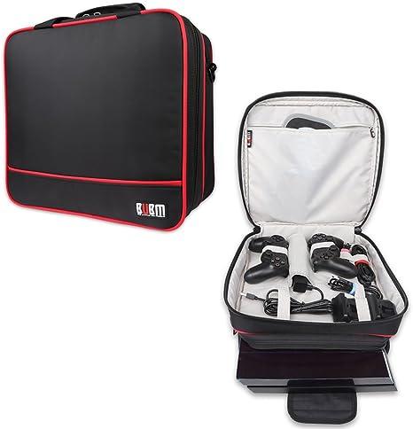 BUBM Bolsa de almacenamiento Travel Gadget Carry Case para PlayStation PS 4 Consola de juegos y accesorios, de alta capacidad y ligero, se adapta a PS4, PS4 Slim, Xbox One S, Negro: