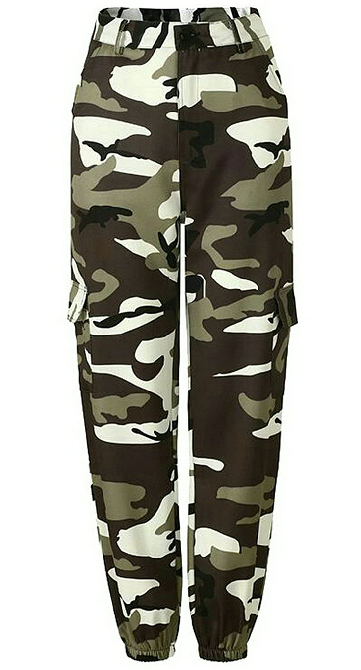 YYG-Women Vogue Camo Print Mulit-Pockets Cargo Jogger Denim Pants Jeans