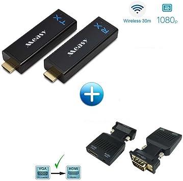 W2H Nano + Adaptador de VGA a HDMI Measy Home transmisor y receptor inalámbrico para Full HD 1080p de Satellite, Bluray, DVD, PS4, Xbox One, portátil, PC: Amazon.es: Electrónica