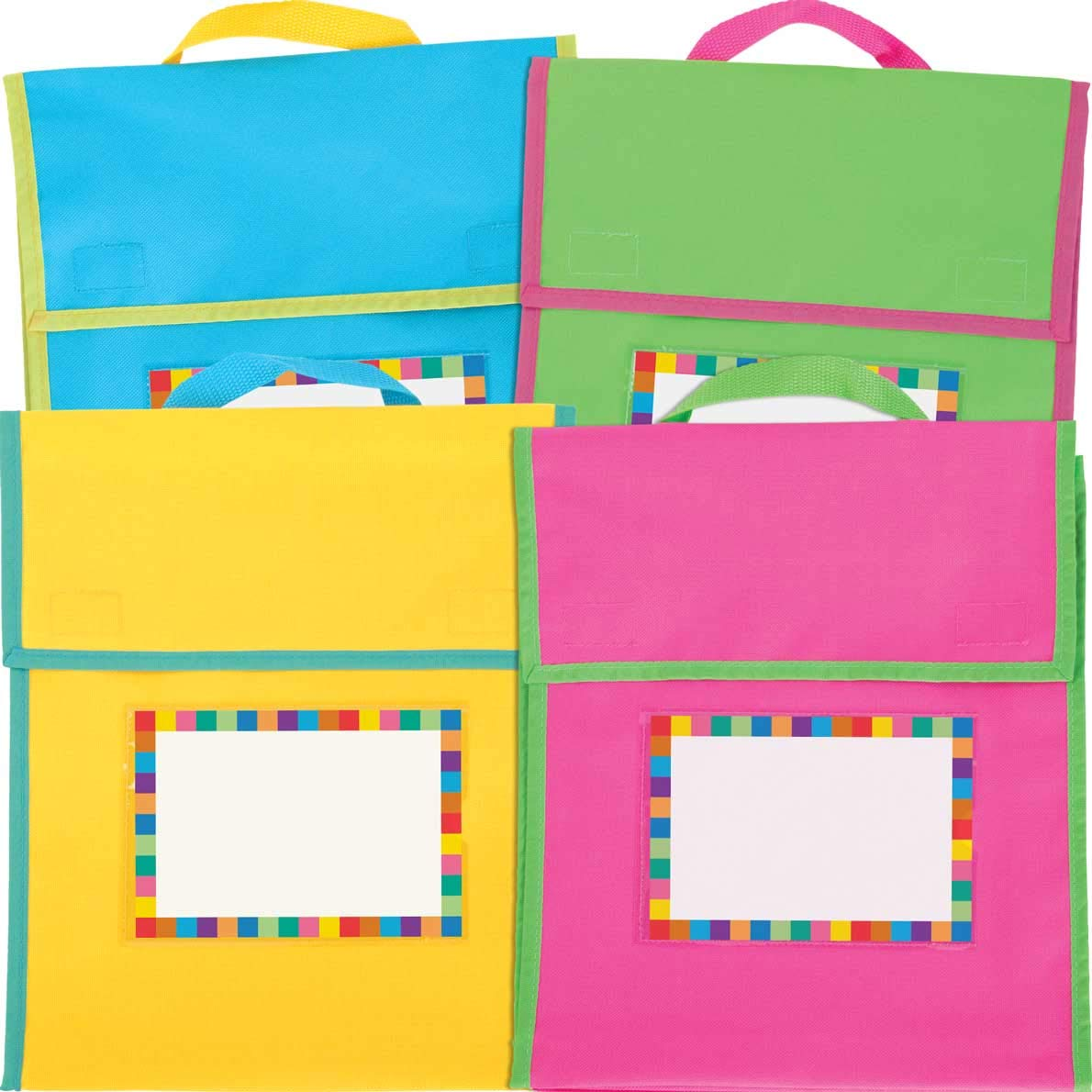 Really Good Stuff Store More Medium Book Pouches and Labels Neon Colors Set of 12