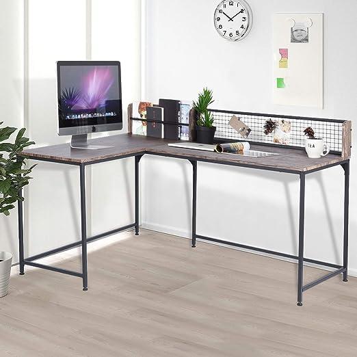 comprar Escritorio de ordenador en forma de L para el hogar o la oficina, tablero de fibra de densidad media, escritorio para PC, estación de trabajo, mesa estable de nogal, 165 x 110 x 75 – 95 cm