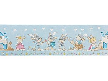 Selbstklebende Bordüre 5 m x 17,50 cm Kinderzimmer (Kaninchen ...