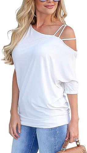 BMJL Mujer Top Modelo Corto Blanco Tejida Correa con Hombro Desnudo y una Camisa de Manga Corta Corta t Base Ancha Derecha: Amazon.es: Ropa y accesorios