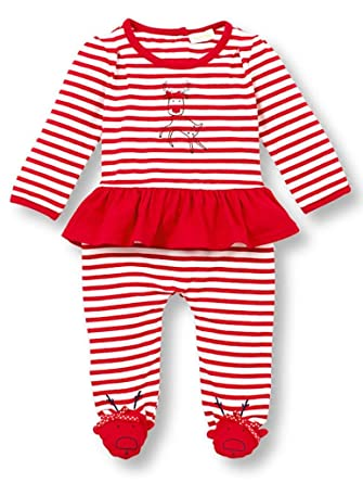 58421c0347 Le Top Baby Girls Run Run Rudolph Striped Skirted Jumpsuit with Reindeer  Feet