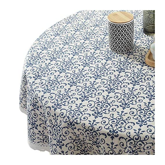 "ColorBird Vintage Navy Damask Pattern Decorative Macrame Lace Tablecloth Heavy Weight Cotton Linen Fabric Decorative Table Top Cover (Round, 60 Inch, Navy Damask) - This ColorBird damsk tablecloth features elegant foral printed in premitive linen fabric, which will add a touch of splash to any existing home decor Material: 100% polyester; Measures 60"" in Diameter, includes lace macrame length Care Instructions: Machine wash cold delicate, hand wash best; lay flat to dry - tablecloths, kitchen-dining-room-table-linens, kitchen-dining-room - 61epmPZEyyL. SS570  -"