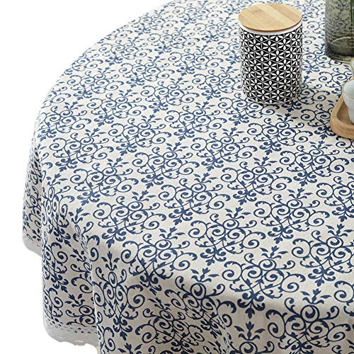ColorBird Vintage Navy Damask Pattern Decorative Macrame Lace Tablecloth Heavy Weight Cotton Linen Fabric Decorative Table Top Cover (Round, 60 Inch, Navy Damask) ()