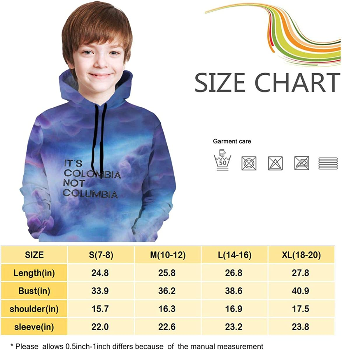 Its Colombia Not Colombia Logo Hip-Hop Pullover Hooded Sweatshirts Sports Outwear for Boys Girls Teens Junior