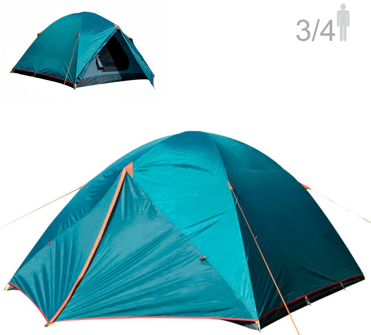 NTK Colorado GT 3 to 4 Person 7 by 7 Foot Foot Outdoor Dome Family Camping Tent 100% Waterproof 2500mm, Easy Assembly, Durable Fabric Full Coverage Rainfly - Micro Mosquito Mesh