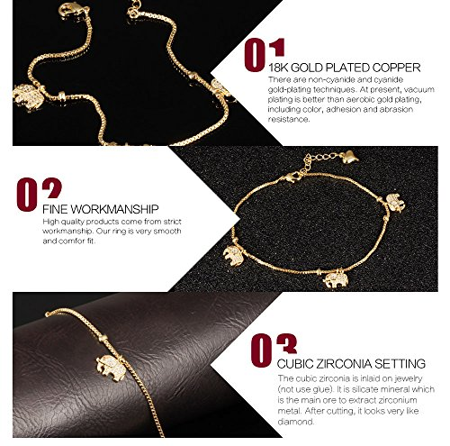 Fashion Aanklets 18K Gold Tone Rhinestone Elephant Beach Foot Chain Aanklet for Women L8.19+1.5'' by LOHOME (Image #5)
