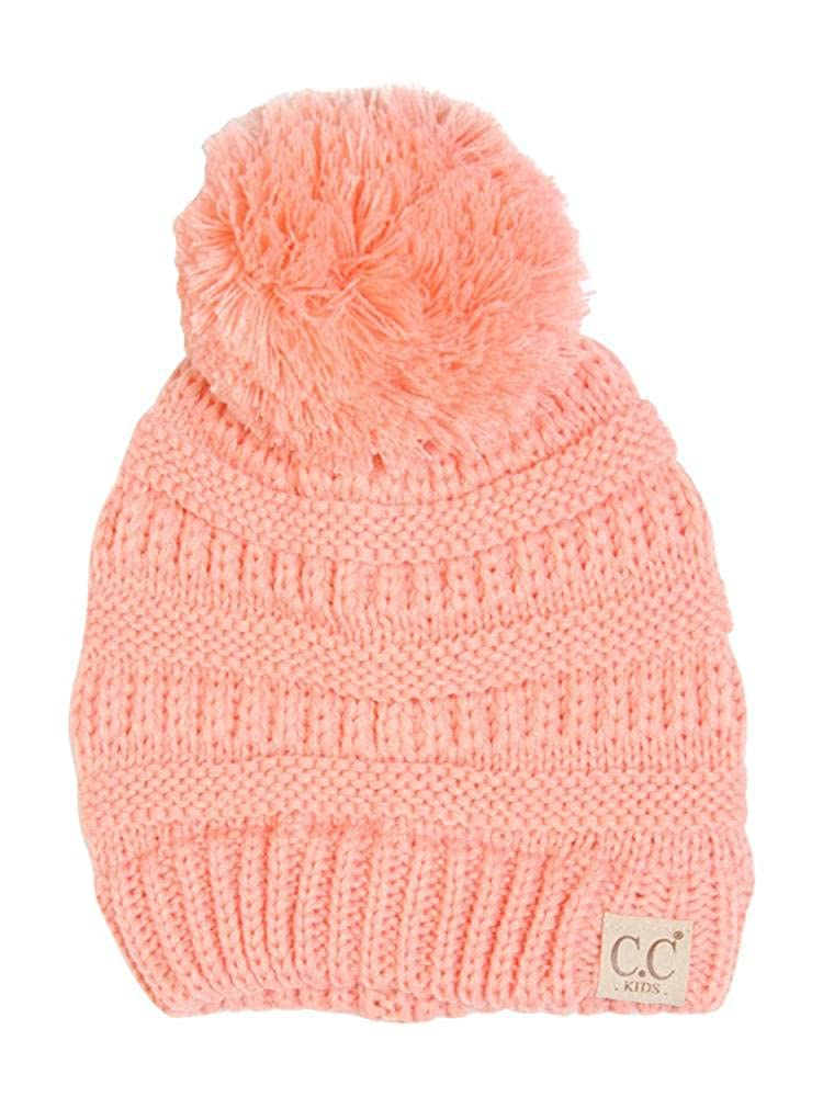 Motobear CC Kids Beanie Hats Baby Toddler Cable Knit Children s Pom Winter  Hat CC Beanie Kids-13 Colors (Kids Peach) d9c9d0683e9