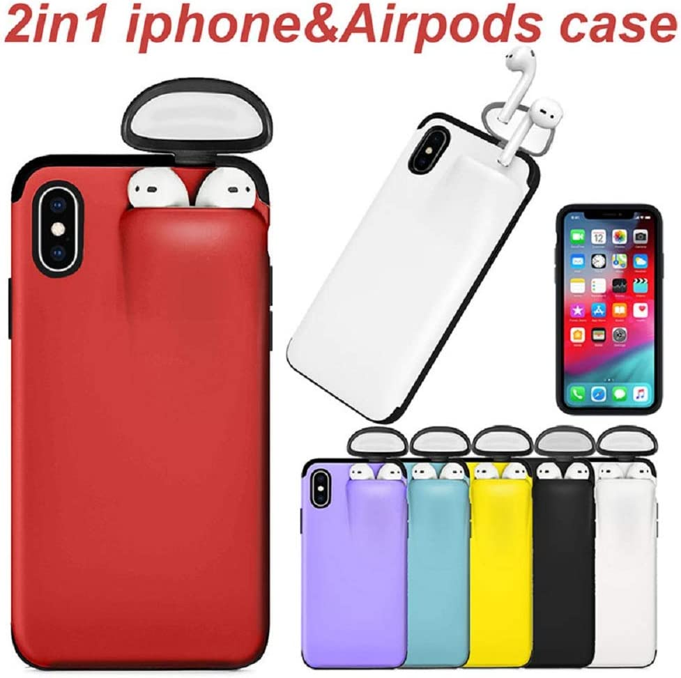 DAYA 2 in 1 for Iphone/&Airpods case,Slim Rubber Anti-Scratch Skin Protective Bumper Cover For iPhoneXS//X 5.8inch, Black