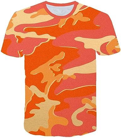T-Shirt 3D Creativo Camiseta para Hombre, Camuflaje Naranja Verano tee Shirt O-Cuello Cool Tops Ocio Manga Corta para Bar Carnival Beach Party, S-6XL: Amazon.es: Ropa y accesorios