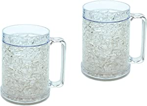 Double Wall Gel Freezer Mugs Set of 2 Clear 16oz, Cooling Pint Glasses, Freezable Beer Mug, Slushie Mug, Plastic Pint Glass