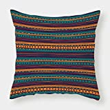 Cotton Linen Throw Pillow Cushion Cover,Tribal,Striped Retro Aztec Pattern with Rich Mexican Ethnic Color Folkloric Print,Teal Plum and Orange,Decorative Square Accent Pillow Case