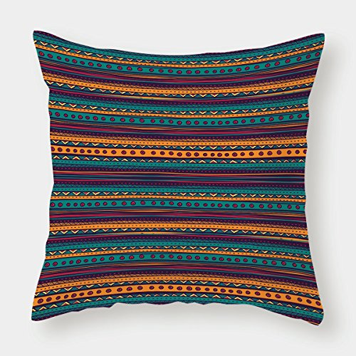 Cotton Linen Throw Pillow Cushion Cover,Tribal,Striped Retro Aztec Pattern with Rich Mexican Ethnic Color Folkloric Print,Teal Plum and Orange,Decorative Square Accent Pillow Case by iPrint