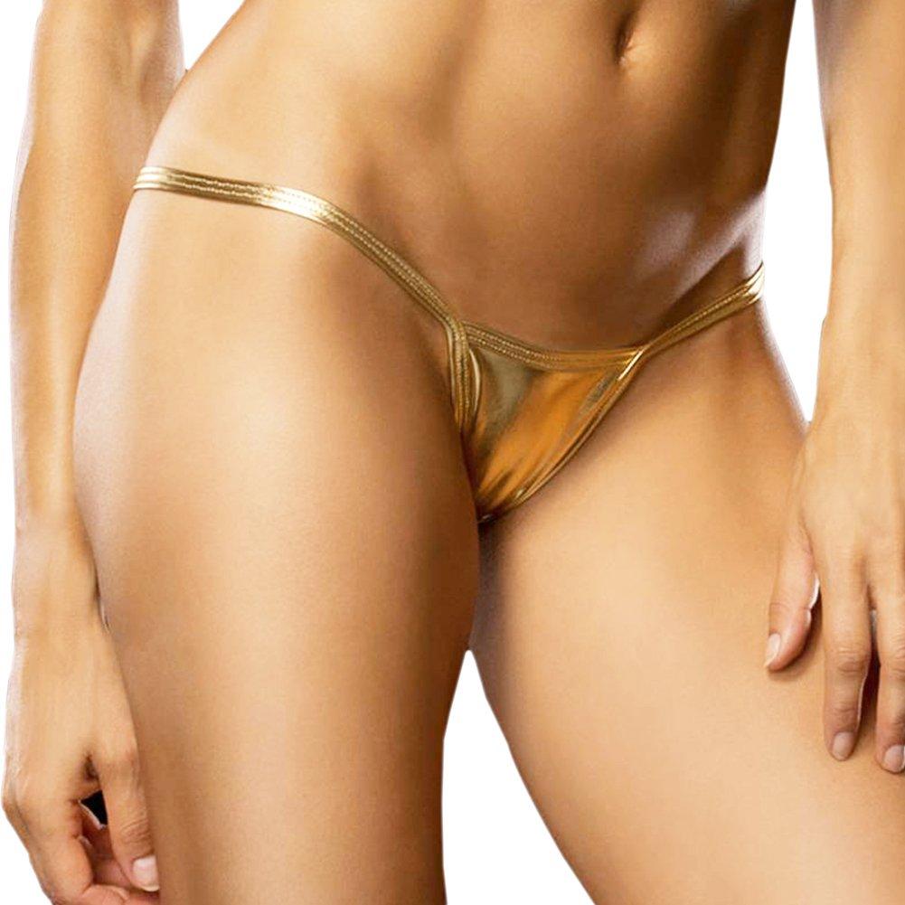 IWEMEK Women's Shiny G String Thong Low Rise Micro String Shorts Bikini Underwear