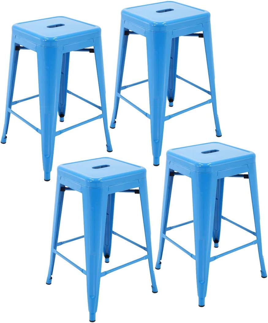 """Porthos Home Stackable Indoor & Outdoor Metal Patio Counter, 24"""" Seat Height (Set of 4) Bar Stools One Size Blue"""