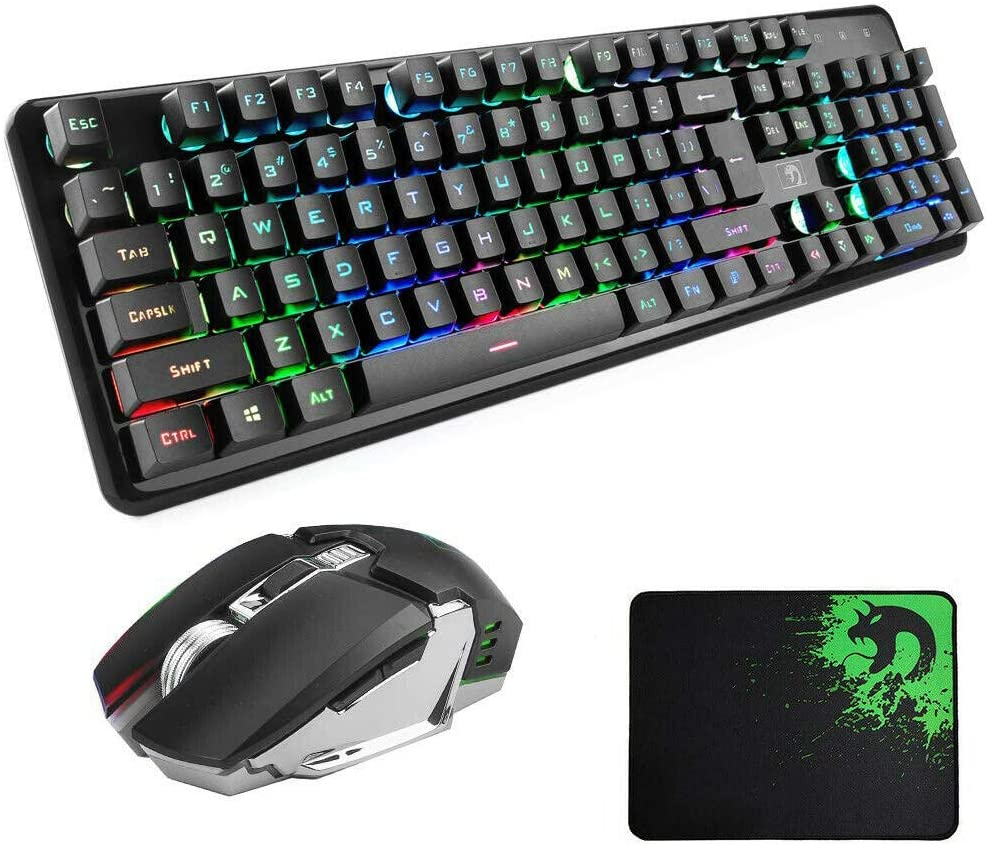 LZBB Keyboard and Mouse Set Home Ergonomic Games Waterproof Colorful Cool Keyboard and Mouse Combination Backlight Rechargeable Computer Gaming Keyboard Set