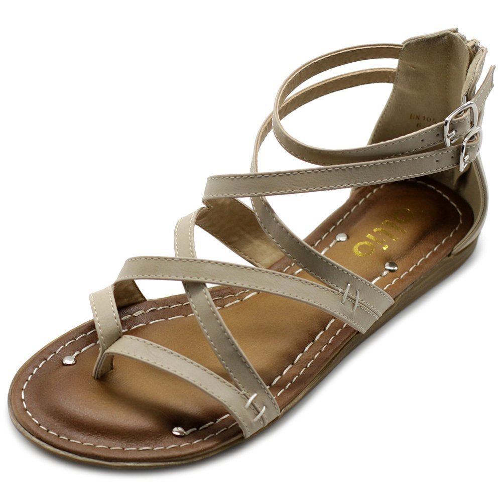 Ollio Womens Shoe Gladiator Strap Flat Zori Sandal M1052 (8 B(M) US, Beige)