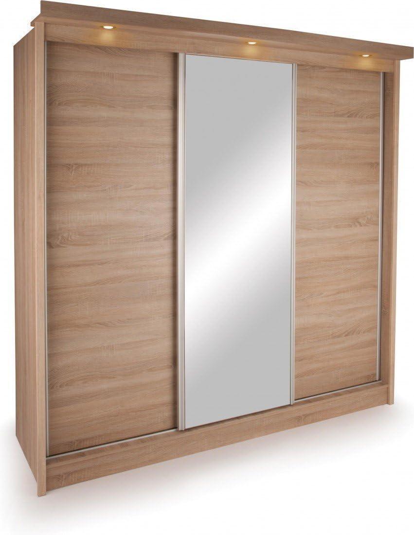 Oslo 3 para Puerta corredera para Colgar Dormitorio Armario Roble 3D con luz LED y Espejo: Amazon.es: Hogar