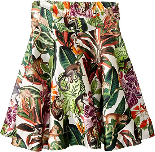 Oscar de la Renta Childrenswear Baby Girl's Mikado Jungle Monkeys New Skirt (Toddler/Little Kids/Big Kids) Jungle Green 6 by Oscar de la Renta
