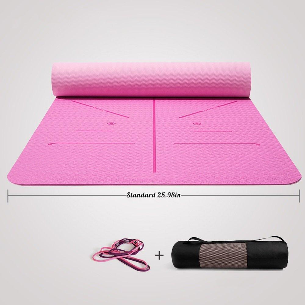 GLJ El Grosor De La Aptitud De La Sección Delgada Antideslizante para Principiantes Ensanchó La Estera De Yoga Femenina Larga Estera de Yoga (Color : Pink)