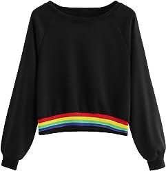 767511066779 SheIn Women's Raglan Sleeve Striped Rainbow Colorblock Crewneck Crop Top  Sweatshirt